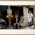 David Hockney poseert voor Freud.